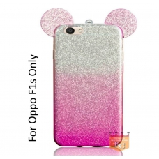 Cute Ears Gradient Glitter 2 in 1 Transparent Soft Back Cover for Oppo F1s - Pink